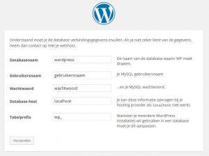 WordPress Gegevens voor Setup configuratiebestand