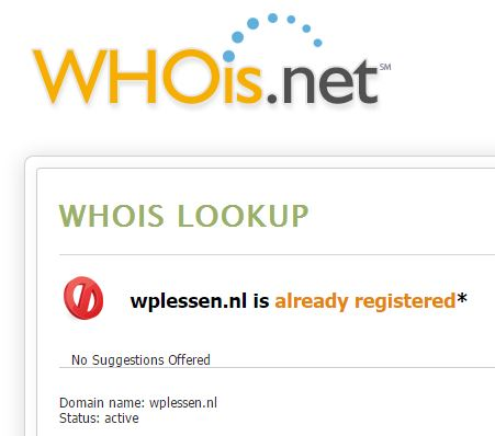 Wplessen op Whois Lookup & IP Whois.net